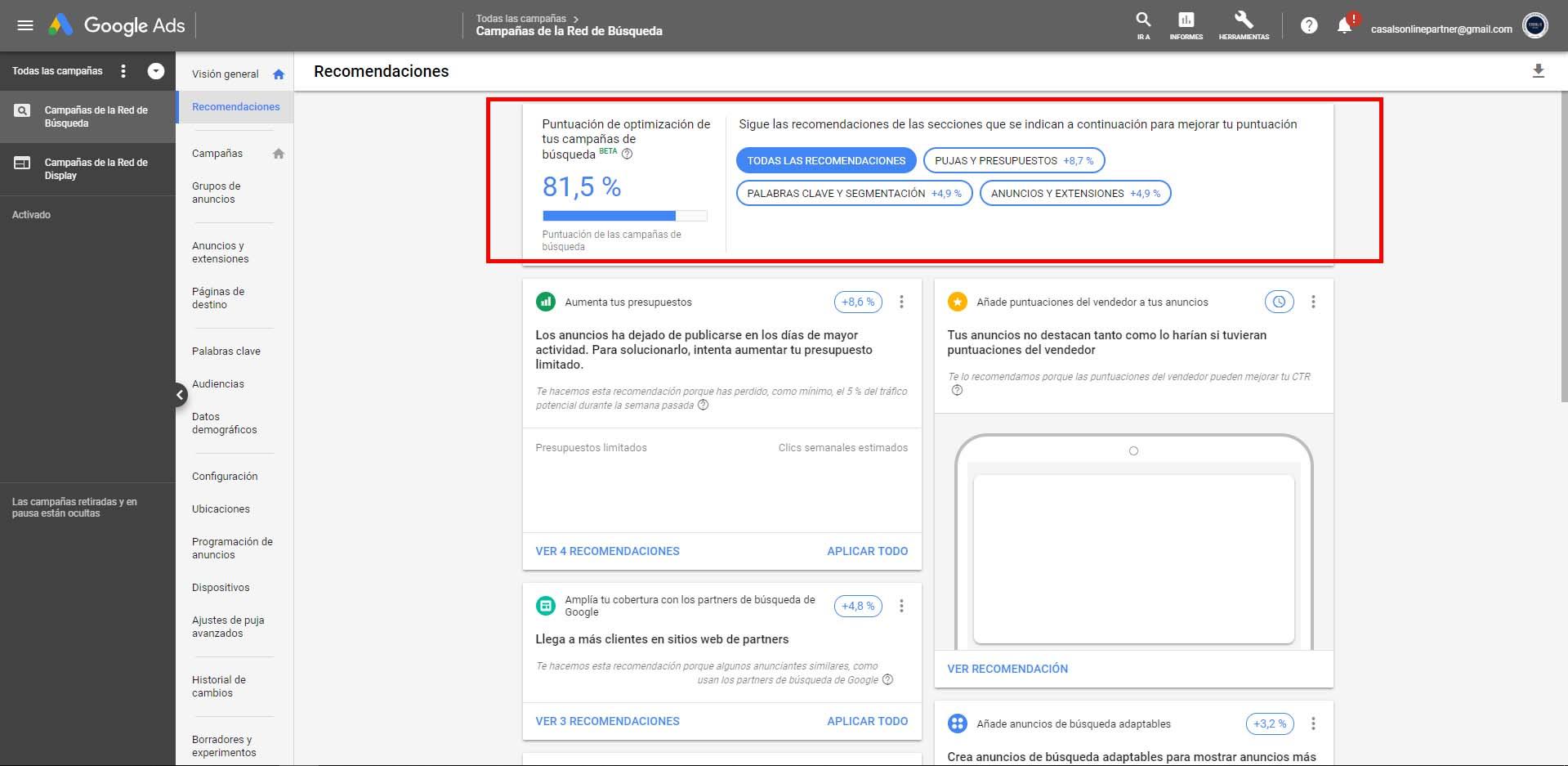 Google Ads: Campaign improvements